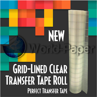 Clear Transfer Paper Tape With Grid For Adhesive Vinyl 12 X 30 Feet Roll New