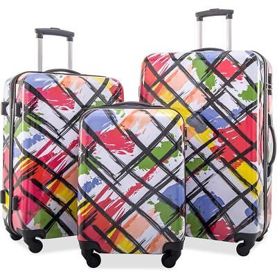 Merax Travel Fashion Printing Luggage Set ABS + PC 3 Piece Spinner Suitcase Set