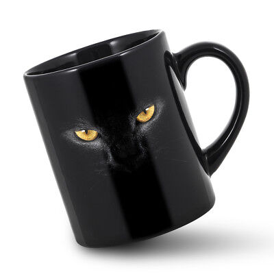 Halloween Black Cat Eyes (Halloween Cat Mug Black Cats Face Mugs Cat Eyes Holiday Cup Panther Cups)