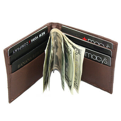 Men's Lambskin Leather Spring Money Clip Compact Bifold Front Pocket Wallet ()