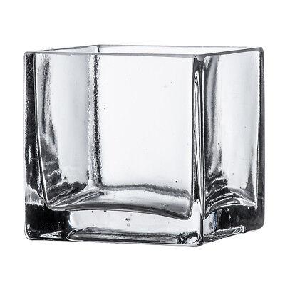 "3"" Square Clear Glass Vase - Cube Centerpiece 3x3x3 Wedding Decoration Handmade"