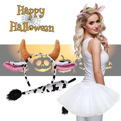 Female Cow Halloween Costume (Cow Tutu Full Costume Set With Ears + Tail Set Kids Ladies Fancy Dress)