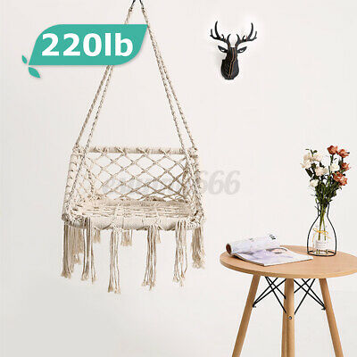 100kg Hammock Rope Chair Air Swing Patio Porch Yard Tree Hanging Outdoo