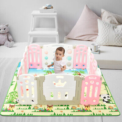 Baby Folding playpen Kids Activity Centre Baby Safety Play Yard with Playmat