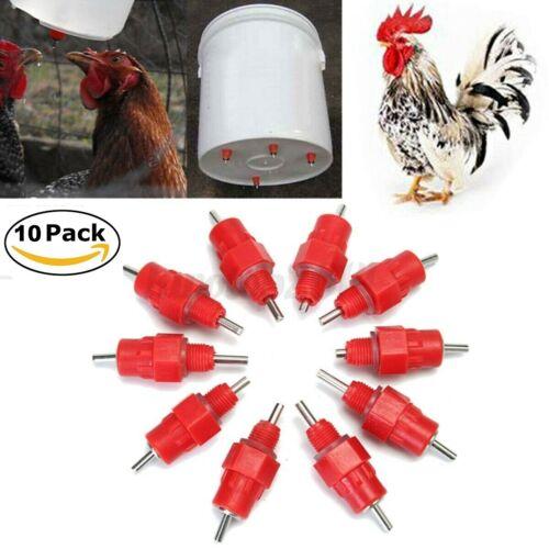 10 Poultry Water Drinker Nipples Chicken Hen Quail Waterers