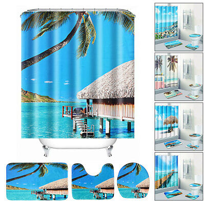 Sea Beach Waterproof Non-Slip Bathroom Shower Curtain Set Toilet Cover Mat Bath