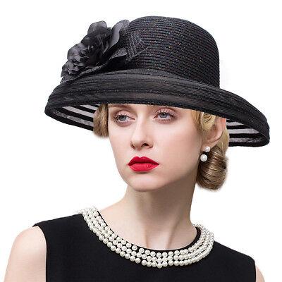 Womens Glitter Kentucky Derby Bride Dynasty Style Church Ascot Sun  Hat A482