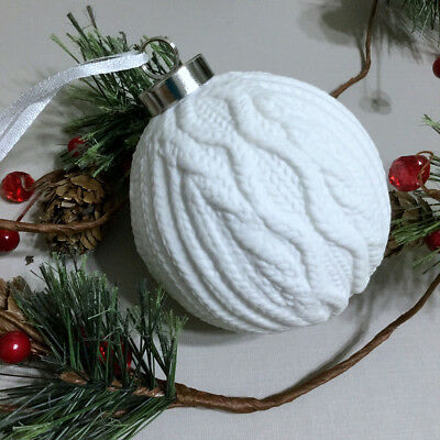 """Cable Knit Sweater Ornament Ceramic Christmas Ball White 3.75"""""""