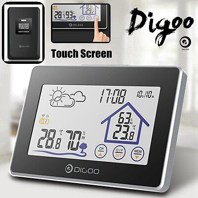 Digoo Outdoor Wireless Touch Temperature Humidity Weather Station CLock Sensor