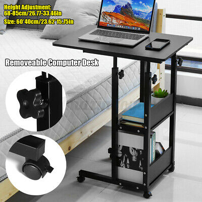 Upgrade Rolling Computer Laptop Desk W Storage Shelf Bed Sofa Lifting C Table