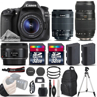 Canon EOS 90D DSLR Camera with 18-55mm Lens +50mm 1.8 + 70-300mm - 64GB BUNDLE