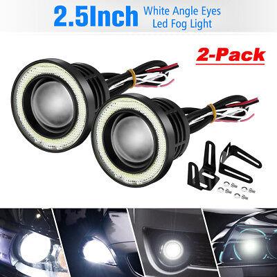 "2x 2.5"" Inch Car Projector LED Fog Light COB Halo Angel Eye Ring Bulb White USA"