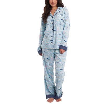 MUNKI MUNKI Blue Flannel Classic Pajama Set with Dachshund Dog Design Size Small