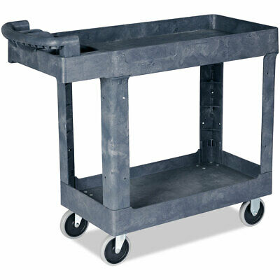 Plastic Utility Service Cart 550 Lbs Capacity 2 Shelves Rolling 41 X 17 X 34
