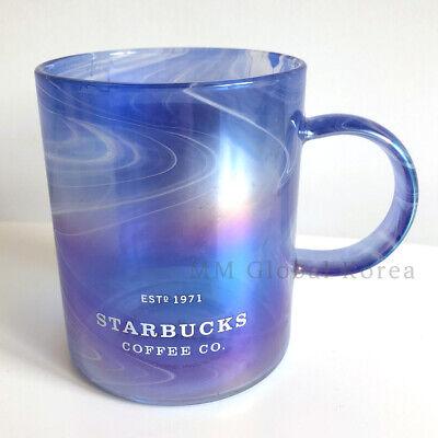 Starbucks 2021 SS Blue Summer Mystic Glass Mug Cup 355ml Limited Edition Korea