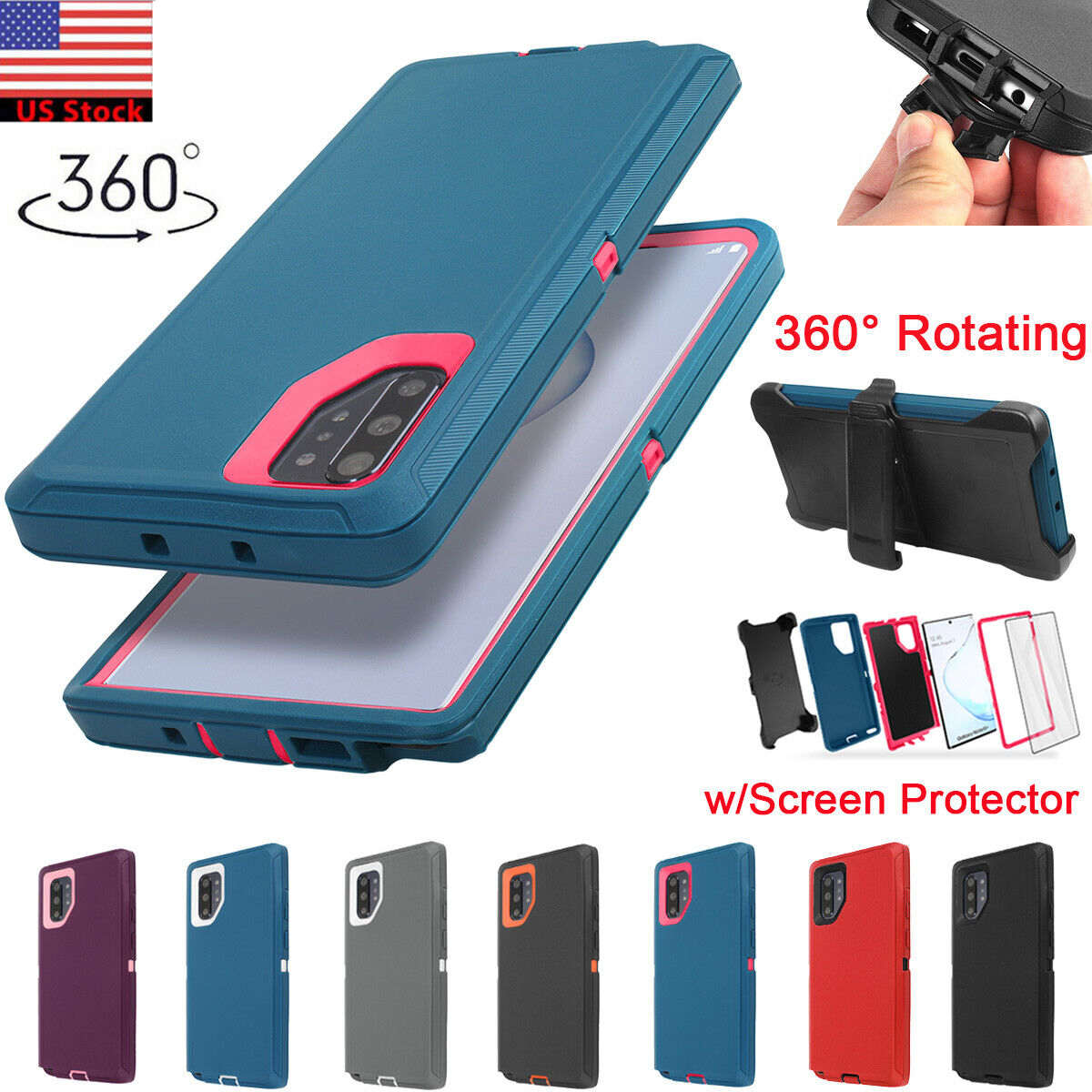 For Samsung Galaxy Note 10+ Plus Rugged Heavy Duty Case Cove