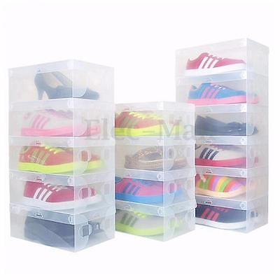 1-50 Pcs Home Plastic Clear Shoe Boot Box Stackable Foldable Storage Organizer
