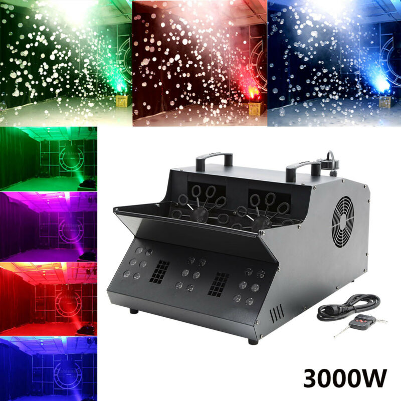 3000W 3IN1 18LED Stage Light Smoke Fog Bubble Machine Fogger DMX 20000cu.ft/min
