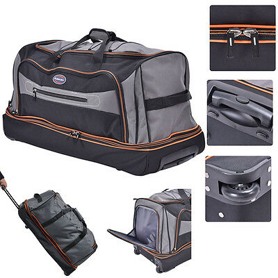 """30"""" Drop Bottom Rolling Wheeled Duffel Bag Carry On Luggage Travel Suitcase"""