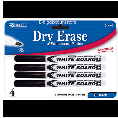 4 Pk Dry Erase White Board Markers Fine Point Tip Black Color  New Free Shipping