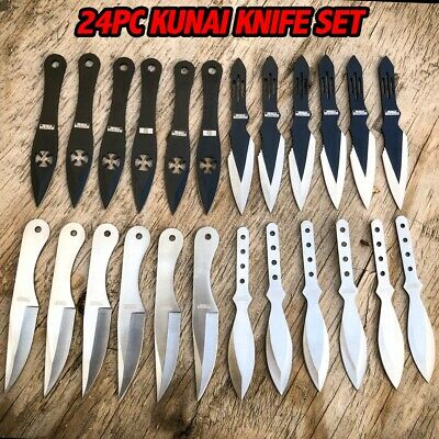 24PC Ninja Tactical Hunting MIXED Knives Naruto Kunai Throwing Knife Set NEW