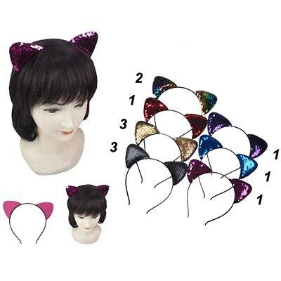 12pc Bling Sparkle Cat Ear Sequin Mermaid Headband Hairband accessory Halloween
