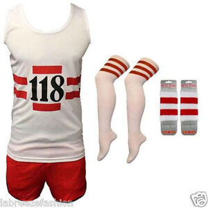 MENS-LADIES-118-FANCY-DRESS-RED-WHITE-VEST-SHORTS-SOCKS-WRISTBAND-COSTUME