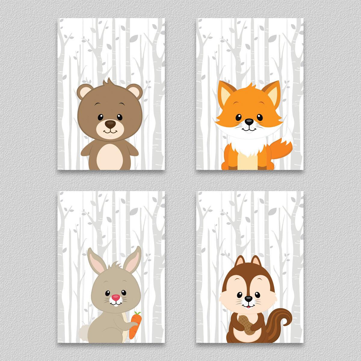 Kinder Poster Set Wald Tiere Kinderzimmer Deko Bild Bär Fuchs Hase Eichhörnchen