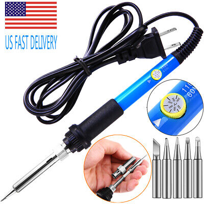 Electric Soldering Iron Gun Adjustable Temperature 60w Welding Set Tool Kit 110v