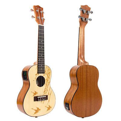 Electric Solid Spruce Ukulele Concert Electric Acoustic Ukel