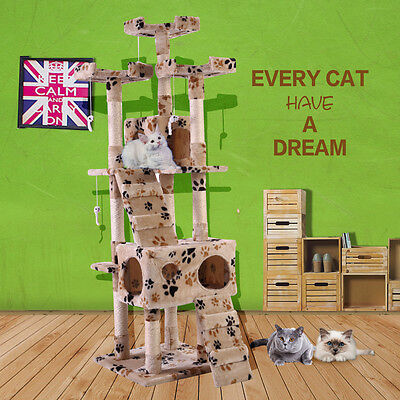 "67"" Cat Tree Castle Condo Furniture Scratching Post Pet Kitty Play House Beige"