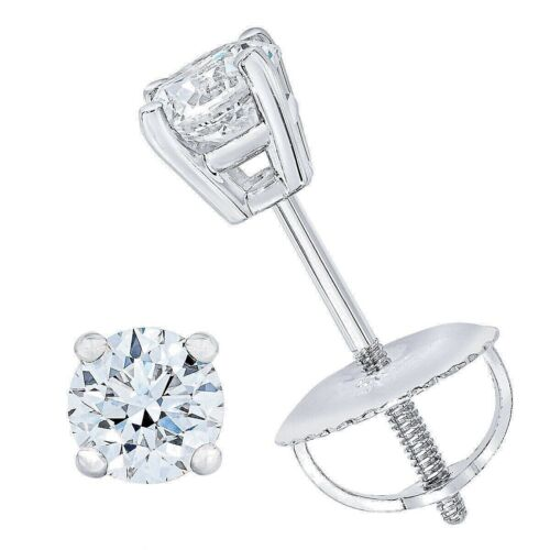 .25 ct. White Sapphire Round Screw Back Stud Earrings -14k White gold/Silver
