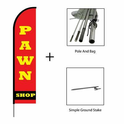 Pawn Shop Feather Flag Swooper Banner Pole Kit Outdoor Sign Display 15ft