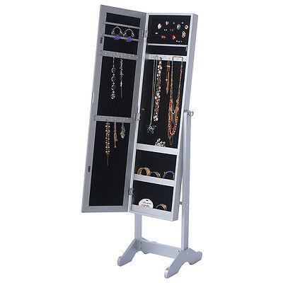 New Mirrored Jewelry Cabinet Armoire Mirror Organizer Storage Box Ring w/ Stand