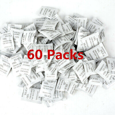 60 Packs Silica Gel Packets - Desiccant Non-toxic Absorb Moisture Beads Bags