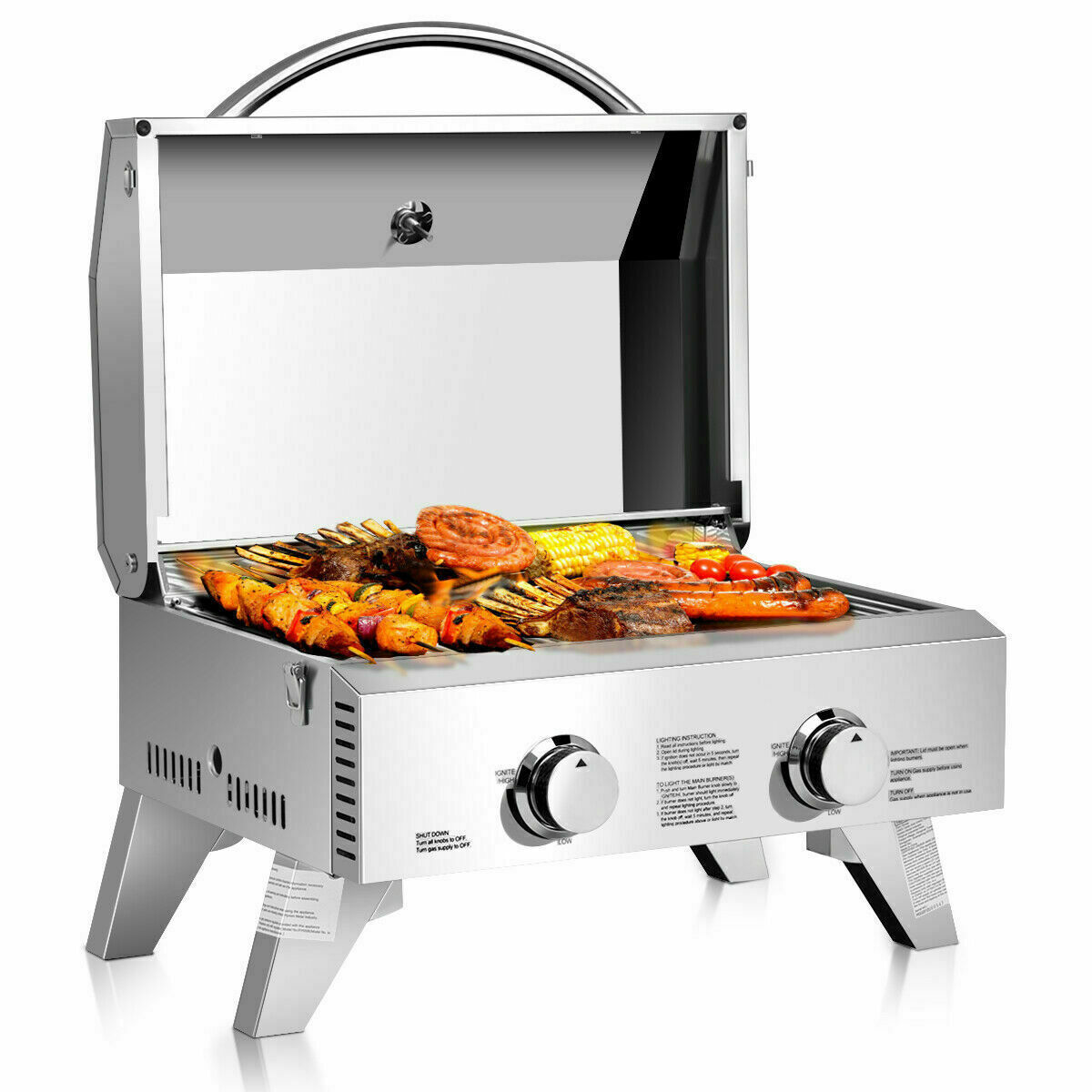 2 Burner Portable Stainless Steel Barbecue Table Top Propane