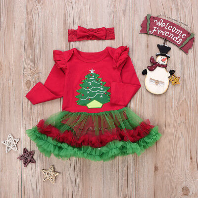 Newborn Baby Girl Christmas Tree Romper Tutu Dress Party Outfit Costume 2PCS - Newborn Christmas Costume