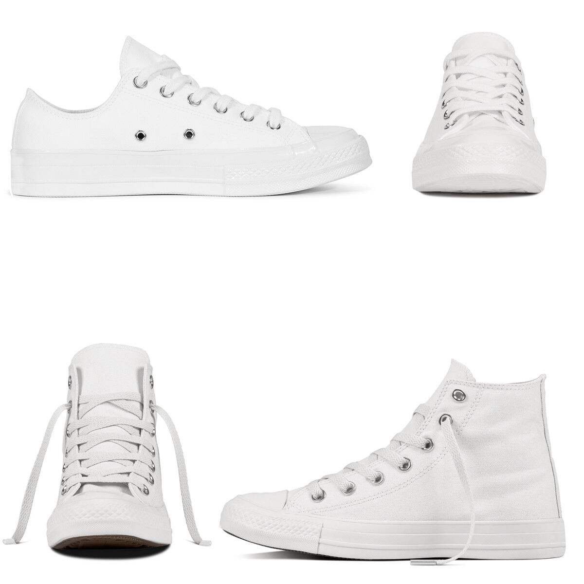 Scarpe Da Ginnastica Bianche Tela Uomo Donna Sneakers Alte Basse Casual Unisex