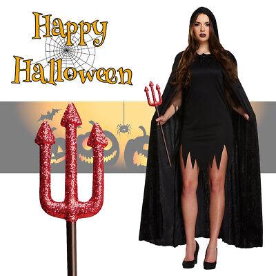 Women's Black Velvet Hooded Cloak + Trident Set Halloween Fancy Dress - Kostüm Trident