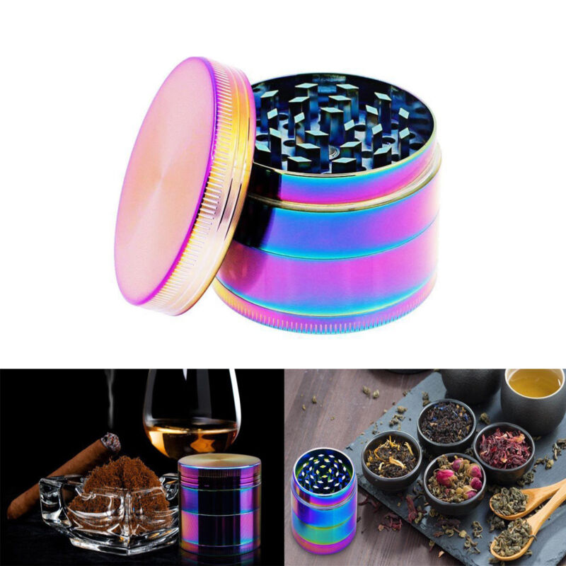 "Large Spice Tobacco Herb Weed Grinder-4 Pcs with Pollen Catcher-50MM"" Rainbow US"