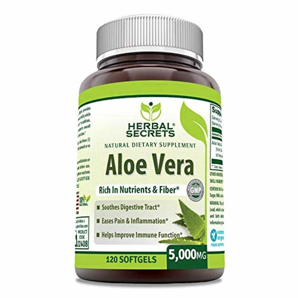 Herbal Secrets Aloe Vera Natural Dietary Supplements, 120 So