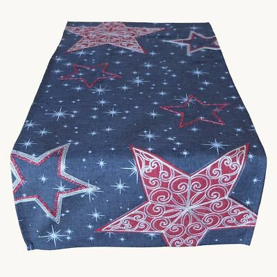 grau 40 x 85 cm Tischdecke Weihnachten Sterne rot silber kurz (Kurze Tischläufer)