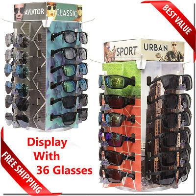 Sunglass Counter Display Spinning Bottom With 36 Sunglass Pcs Included New