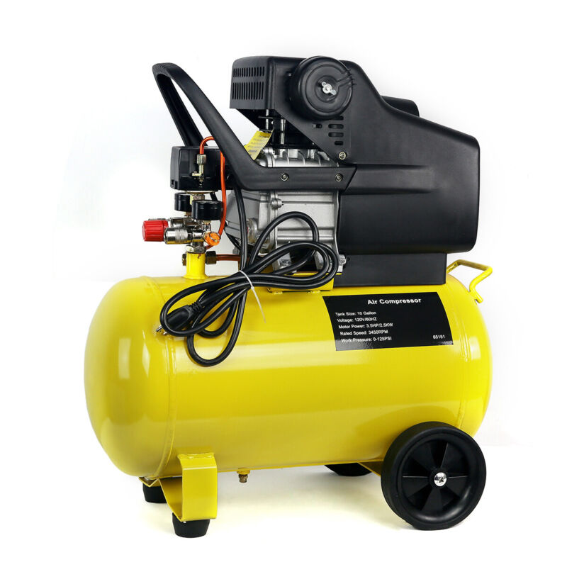 Industrial Portable 3.5HP Air Compressor Tank Pneumatic Motor 125 PSI 10 Gallon