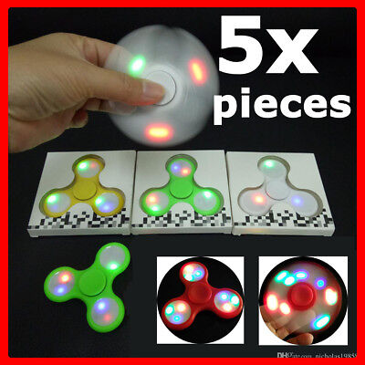 LOT 5 PACK Tri Fidget Hand Finger Spinner LED Light Up EDC Class Student School