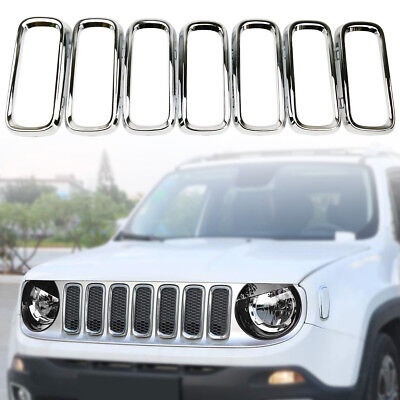 Silver Chrome Front Grille Insert Grill Trim Ring for Jeep Renegade 2015-2018 Chrome Argent Grille Grill