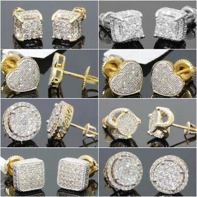 18K Gold Square Cube AAA Zircon Rhinestone Ear Stud Earrings Men Women Jewelry