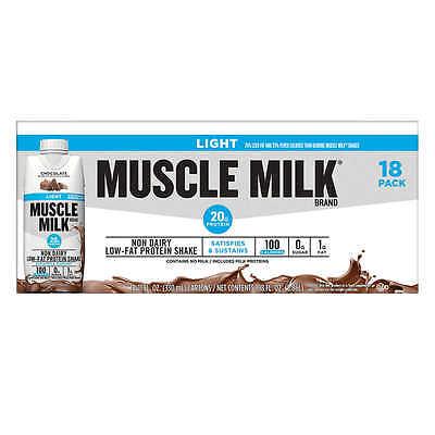CHOCOLATE MUSCLE MILK LIGHT PROTEIN 11 oz  NUTRITION SHAKE 18-pk