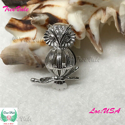 Mechanical Owl Pearl Cage Pendant - 925 STERLING SILVER