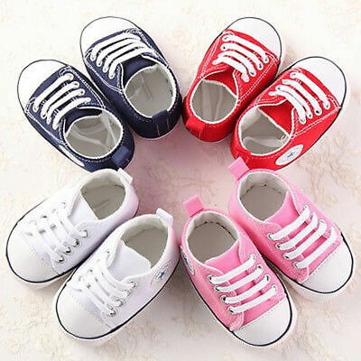 0-18 Months Newborn Baby Boy Girl Pre-Walker White Crib Shoes Sneakers Soft Sole